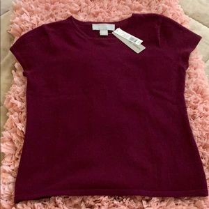 100% cashmere short sleeve sweater nwt medium